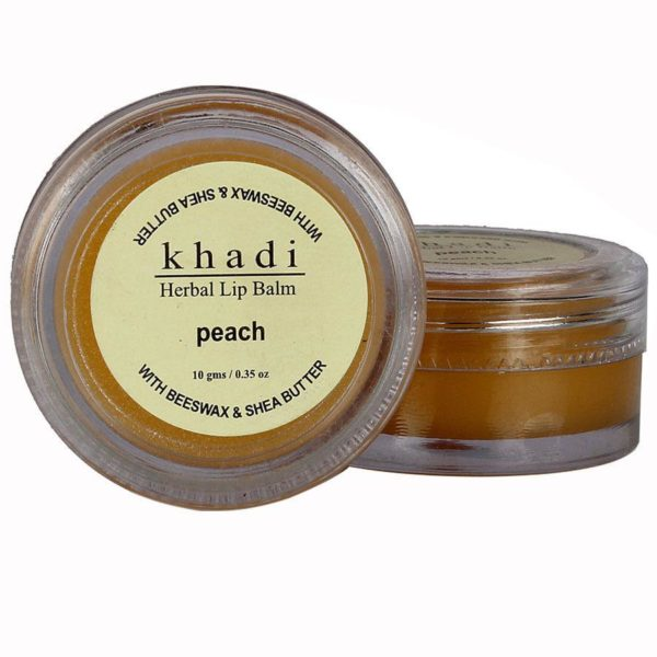 buy Khadi Natural Peach Lip Balm- With Beeswax & Shea Butter 10g in Delhi,India